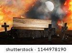 graveyard open coffin with...   Shutterstock . vector #1144978190