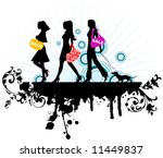 Stock vector shopping girls vector illustration 11449837