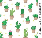 succulent and cactus seamless... | Shutterstock .eps vector #1144987409