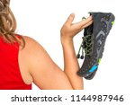 woman with barefoot shoes over...   Shutterstock . vector #1144987946