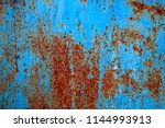 texture of rusty iron with blue ... | Shutterstock . vector #1144993913