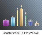 realistic detailed 3d candles... | Shutterstock .eps vector #1144998560