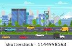 cartoon city panorama highway... | Shutterstock .eps vector #1144998563