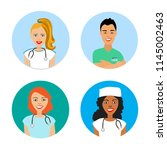 a set of avatars with doctors.... | Shutterstock .eps vector #1145002463