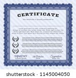 blue sample diploma. with great ... | Shutterstock .eps vector #1145004050