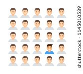 set of identical men faces... | Shutterstock .eps vector #1145010539