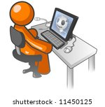 an orange man sitting at a... | Shutterstock . vector #11450125