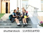 teenage students in stylish... | Shutterstock . vector #1145016950