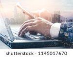 the double exposure image of... | Shutterstock . vector #1145017670
