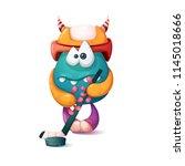 funny  cute cartoon monster... | Shutterstock .eps vector #1145018666