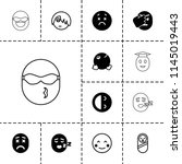 smile icon. collection of 13... | Shutterstock .eps vector #1145019443