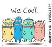 cool cats with sunglasses.... | Shutterstock .eps vector #1145019899