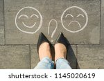 choice   happy smileys or... | Shutterstock . vector #1145020619