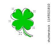 vector cartoon four leaf clover ... | Shutterstock .eps vector #1145021810