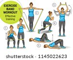 exercise band workout  training ... | Shutterstock .eps vector #1145022623