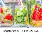 fruit water  detox drinks | Shutterstock . vector #1145023766
