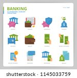 banking icon set | Shutterstock .eps vector #1145033759