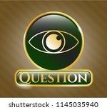 golden badge with eye icon and ... | Shutterstock .eps vector #1145035940