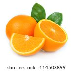 sweet orange fruit with leaves... | Shutterstock . vector #114503899