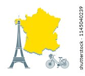 map of france  famous tower of... | Shutterstock .eps vector #1145040239