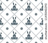 seamless pattern with rabbits... | Shutterstock .eps vector #1145040293