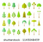 set of different trees in a... | Shutterstock .eps vector #1145048459
