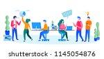 concept people brainstorming... | Shutterstock .eps vector #1145054876