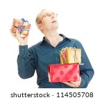 Business person throwing a gift - stock photo