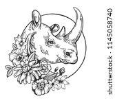 rhinoceros animal engraving... | Shutterstock .eps vector #1145058740