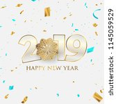 happy new year 2019 background. ... | Shutterstock .eps vector #1145059529