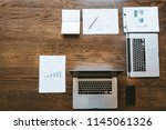 top view of office space  ... | Shutterstock . vector #1145061326