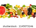 assorted fruits on isolated... | Shutterstock . vector #1145073146