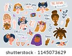 sticker set of women of... | Shutterstock .eps vector #1145073629