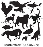 Stock vector animals silhouette 114507370