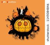 big pumpkin with halloween... | Shutterstock .eps vector #1145084846