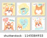 Stock vector cute happy funny corgi dog with yummy cup cake full of love in soft pastel color set of square 1145084933