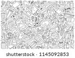 line art vector hand drawn... | Shutterstock .eps vector #1145092853