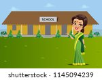 an indian teacher standing in... | Shutterstock .eps vector #1145094239