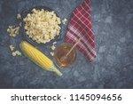 popcorn in bowl with sweet corn | Shutterstock . vector #1145094656