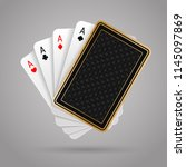 Four aces in five playing cards with black back design on grey background. Winning poker hand. JPG include isolated path