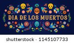 Stock vector day of the dead dia de los moertos banner with colorful mexican flowers fiesta holiday poster 1145107733