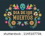 day of the dead  dia de los... | Shutterstock .eps vector #1145107736