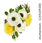 white anemones and yelow rose... | Shutterstock . vector #1145109200