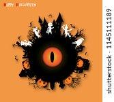 eyes of monster on halloween... | Shutterstock .eps vector #1145111189
