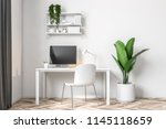 white wall home office work... | Shutterstock . vector #1145118659