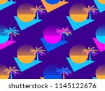 futuristic palm tree and sun... | Shutterstock .eps vector #1145122676