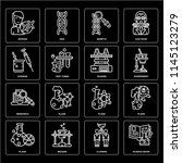 set of 16 icons such as science ... | Shutterstock .eps vector #1145123279