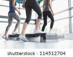 three women doing aerobics in... | Shutterstock . vector #114512704