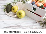 zero waste home  vegetable and... | Shutterstock . vector #1145133200