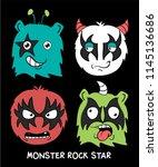 cool monster vector design | Shutterstock .eps vector #1145136686